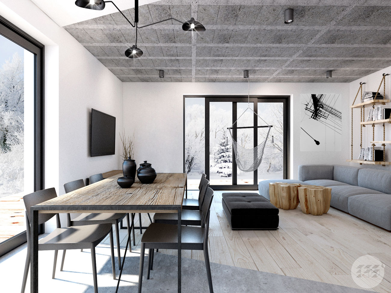 Projekt wnętrza pod Poznaniem - minimalizm - loft - industrial