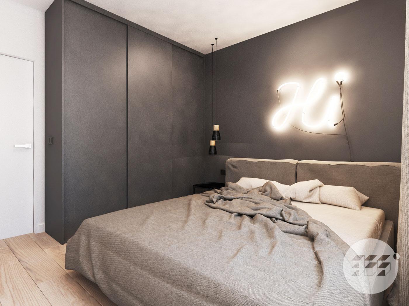 Projekt wnętrza w Słubicach - minimalizm - industrial - loft - monochrom