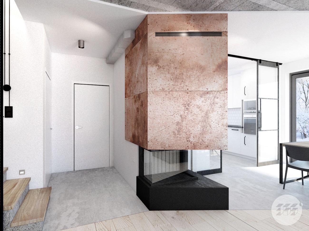Projekt wnętrza pod Poznaniem - minimalizm - loft - industrial (5)